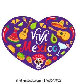 Viva Mexico banner. Sombrero, guitar, sugar skull, cactus, guacamole, tacos. Decorations for national Mexican celebrations. Cinco de Mayo. Day of the Dead