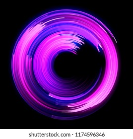 Vivid abstract background. Beautiful design of rotation frame. Magic neon ball. Led blurred swirl.  Mystical portal. Bright sphere lens. Rotating lines. Glow ring. Spiral glint lines.