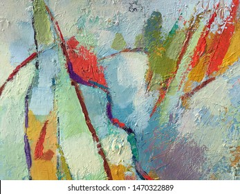 Vivid abstract minimalistic painting background with mixed paint texture. Artwork painting with red line and light blue blobs. Painting surface texture for art gallery advertising, banner design