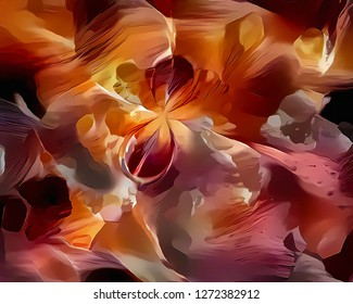 Vivid abstract oil painting. Canvas. 3D rendering