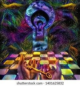 Vivid abstract painting. Unlock Knowledge. Key in human hands. Mystic keyholes and checkered floor. 3D rendering