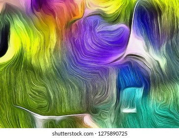 Vivid Colorful Fluid lines of movement. 3D rendering