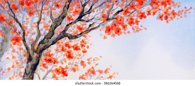 Vivid colorful watercolour on paper backdrop in asian Japan sketch style with space for text on white sky. Lush pink coral orange inflorescence on old sprout of seedling in flowery orchard yard