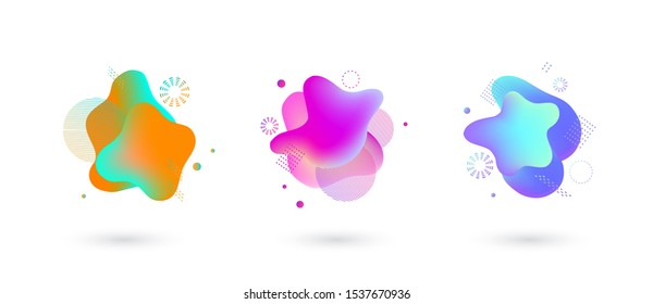 vivid gradient spots with geometric symbols set on isolated background. Abstract elements for trendy vibrant color design. Fluid blots, wavy dops, flowing elements. Plasma splash illustration
