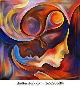 Mentes Vivid. Colores En La Serie Nosotros. Diseño hecho de siluetas humanas, texturas de arte y entrelazados de colores para servir como fondo de proyectos sobre la vida, el drama, la poesía y la percepción
