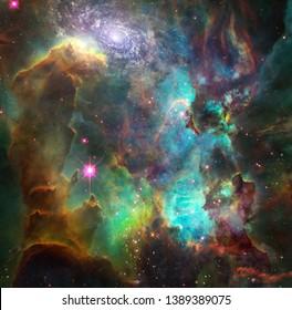 Vivid nebula and galaxy. 3D rendering