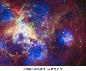 Vivid nebulae. Colorful endless space. 3D rendering