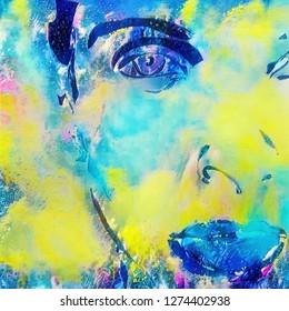 Vivid painting. Lady in pastel colors. 3D rendering