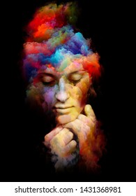 Vivid Portrait. Inner Color series. Abstract design made of  human face and abstract colors isolated on black background relevant for art, design and psychology