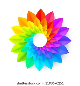 Vivid rainbow colors paper spiral spectrum flower isolated on white background