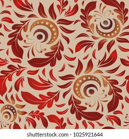 Vivid repeating floral - For easy making seamless pattern use it for filling any contours. Sketch in beige, red and brown colors.