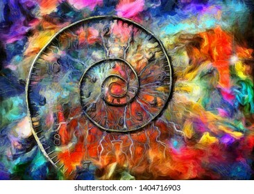 Vivid surreal painting. Spiral of time. 3D rendering