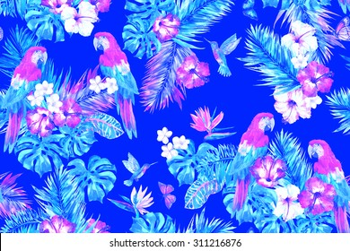 Vivid tropical flowers pattern with birds of paradise parrots and hummingbirds and butterfly on a blue backdrop. Exotic template tropical palm leafs, banana leaf, monstera leaves and flowers hibiscus
