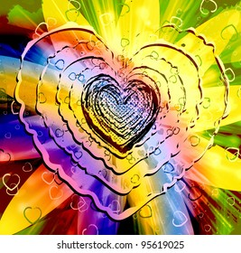Vivid, vibrant and colorful heart shape for peace and love concepts
