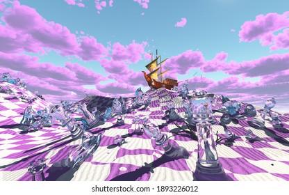 Scène du désert de plateau de dames surréaliste, dans des cabanes vifs. Rendu 3D