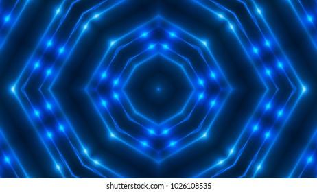 VJ Fractal blue kaleidoscopic background. 3d rendering digital backdrop