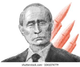 Vladimir Putin. Portrait Drawing Illustration. March 08, 2018