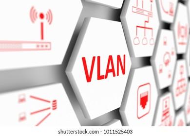 VLAN concept cell blurred background 3d illustration