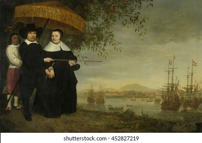 VOC Senior Merchant, by Aelbert Cuyp, c. 1640-60, Dutch painting, oil on canvas. Portrait of a senior merchant of the East India Company, presumably Jacob Mathieusen and his wife. Mathieusen points t