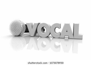 Vocal Microphone Speak Sing Perform Word 3d Illustration