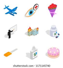 Vocation icons set. Isometric set of 9 vocation icons for web isolated on white background