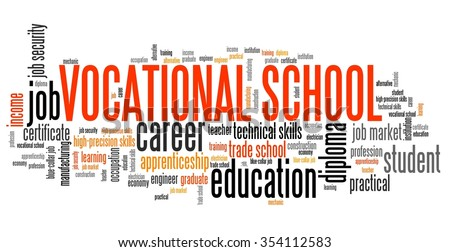 vocational school word collage technical occupation stock