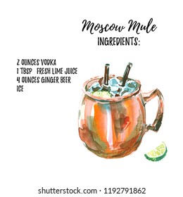 Vodka based Moscow Mule cocktail with ingridients list. Watercolor illustration of the long drink in a copper mug with lime. Hand drawn, isolated on white background