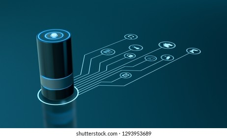 voice assistant device with a network of iot icons, concept of smart home and futuristic technology (3d render)