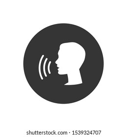 Voice control icon. Speak or talk recognition linear icon, speaking and talking command, sound commander or speech dictator head,  illustration