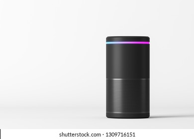Voice controlled smart speaker standing over white background. Concept of technology and electronics. 3d rendering mock up