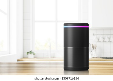 Voice controlled smart speaker standing on kitchen table. Concept of technology and electronics. 3d rendering