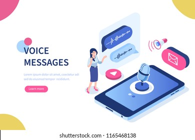 Voice messages concept with character and text place. Can use for web banner, infographics, hero images. Flat isometric illustration isolated on white background.