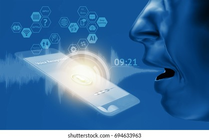 Voice recognition , speech detect and deep learning , chatbot technology concept. 3d rendering of man speak , application on mobile phone screen.