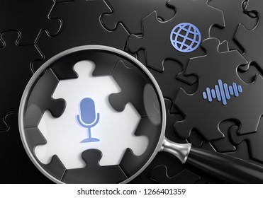 Voice Search. Close-up composition of magnifying glass focusing on microphone symbol surrounded by black colored jigsaw puzzle assembled from hexagonal parts. 3d rendering graphics.