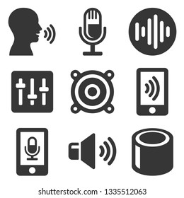 Voice Smart Devices with Sound Wave Icons Set.