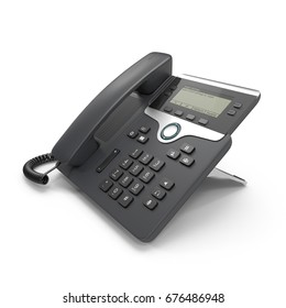 VOIP phone IP phone isolated on a white. 3D illustration, clipping path