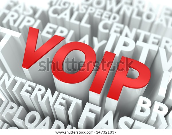 VOIP - Wordcloud Internet Concept. The Word in Red Color, Surrounded by a Cloud of Words Gray.