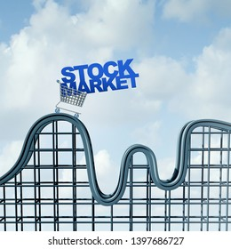 Volatile stock market and economic volatility with fluctuation of price with the rise and fall of financial securities and IPO prices as a 3D illustration.