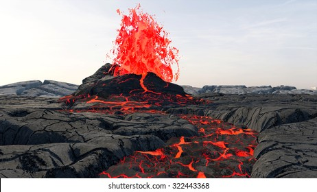 Volcanic Eruption. Lava