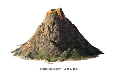 volcanic eruption, lava coming down a volcano, isolated on white background (3d nature rendering)
