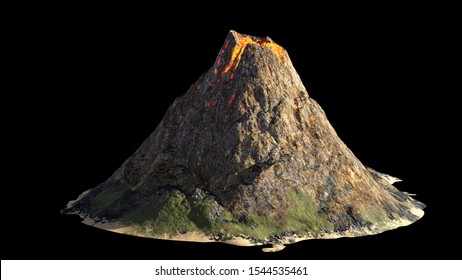 volcanic eruption, lava coming down a volcano, isolated on black background (3d nature rendering)