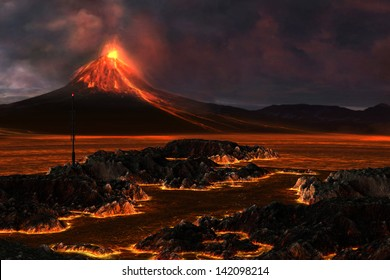Volcanic Mountain - Red hot lava runs through the landscape as a volcanic mountain explodes with fire.