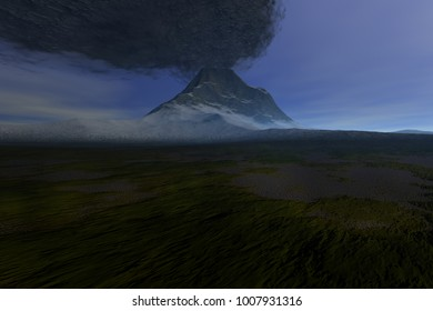 Volcano, 3D rendering, a beautiful  landscape, snow and grass on the ground and smoke in the sky.