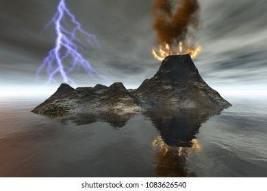 Volcano, 3D rendering, an island landscape, fire and smoke on the crater, reflection in the sea, and lightning in the sky.
