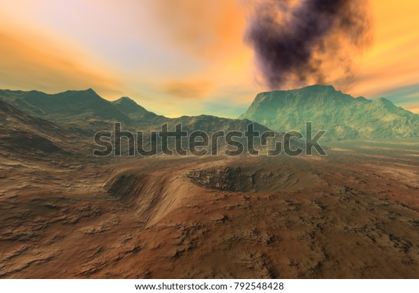 Volcano, 3D rendering, a martian landscape, mountains, rocks and a fantastic sky.