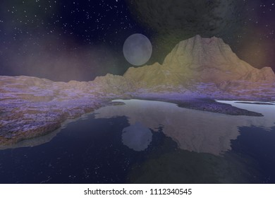 Volcano, 3d rendering, a night landscape, black smoke, reflection on water and stars in the sky.
