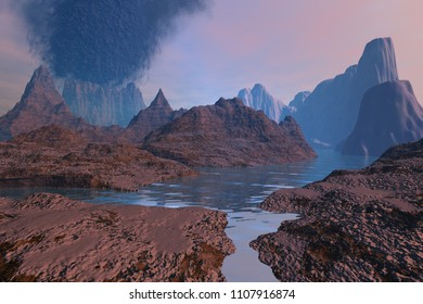 Volcano,  3d rendering, a rocky landscape, river among the mountains, pink clouds and black smoke in the sky.