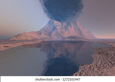Volcano, 3d rendering,- a rocky landscape, black smoke in the sky and reflection on the lake.