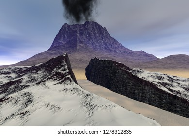 Volcano, 3d rendering a rocky landscape, smoke on the crater, snow in the gorge, and a cloudy sky.