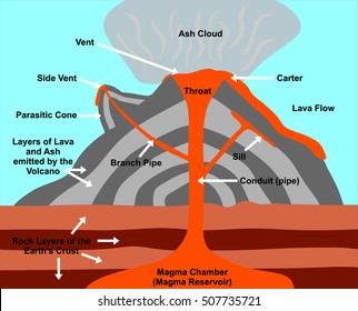 volcano cross section - including all parts: magma chamber, reservoir, rock  layers of